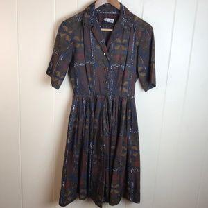 Vintage 50s/60s Style Brown Floral Print Dress